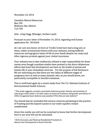 Page 1 of 2 - Letter from Josh Ludwig of Trickle Creek.