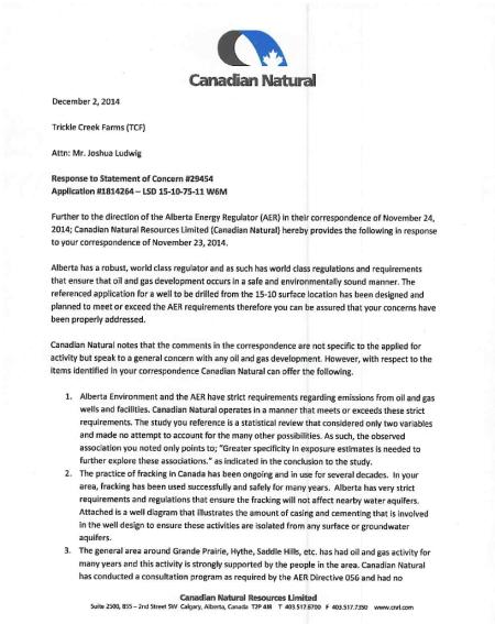 Response letter 1 of 2