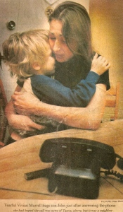 On 21 January 1983, Photographer Dean Bicknell of the Edmonton Journal captured a distraught Vivian hugging her son John after she just answered the phone. She was hoping someone was calling with news about Tania, but it wasn't to be.