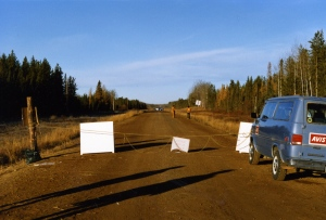 The Lubicon checkpoint and the RCMP checkpoint [in the distance].
