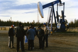 Reporters with Chief Bernard Ominayak at non-working pump jack. I'm the tall, good-looking dude on the right.