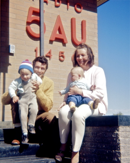 Announcer Fred Wheeler & his young family at Radio 5AU in Port Augusta [1970]