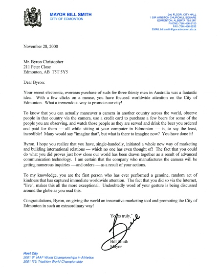 Letter from Edmonton Mayor Bill Smith [click to enlarge].
