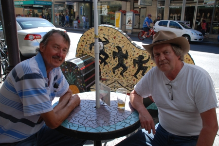 Lester and Byron [Chris to Lester and my Aussie friends] outside the Austral. I'm wearing ... what else? ... an Aussie Akubra hat.