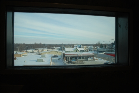 View from McNair's jail cell in Minot. His window looked out on the convenience store where he had worked. Photo taken in December 2010.