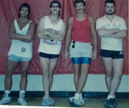 McNair, second from the right, with cons at the State Penitentiary in Bismarck, ND. Early 90s.