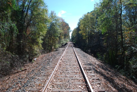 The railroad tracks escapee McNair walked down within hours of his escape. Photo taken north of Tioga, Louisiana.