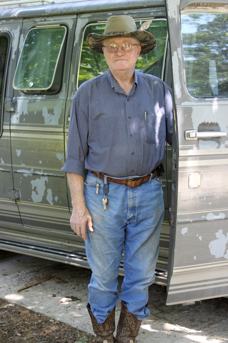 Reverend James Holbrook of Winnfield, Louisiana alongside his GMC van, which McNair stole in April 2006 within days of his escape from United States Penitentiary Pollock.