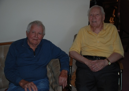 Gordie King and Art Crighton at Crighton's home in West Edmonton. Photo taken by author in March 2012.
