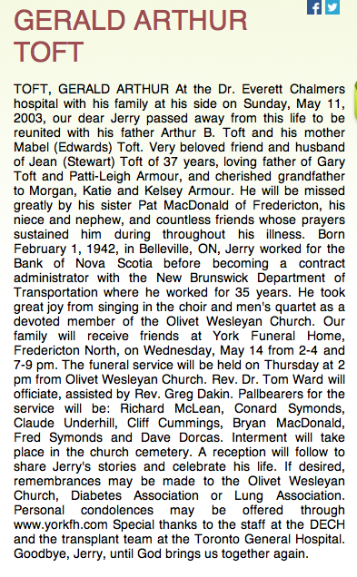 Obituary for Gerald Toft. There is no mention of his older brother, Karl. Karl Toft was not toiled about his brother's death until a month later.