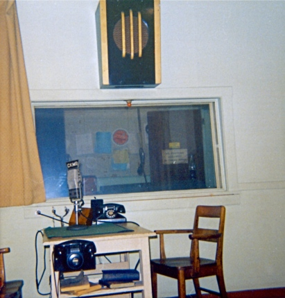The studio at CKMR where our news was read and our commercials/interviews recorded.