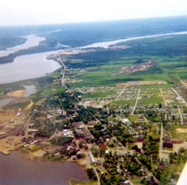 Newcastle, New Brunswick from the backseat of a Cessna 170 : 1968