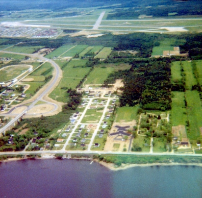 Part of Chatham, New Brunswick. The road to the left is Highway XX and the ramp to the Miramichi Bridge.