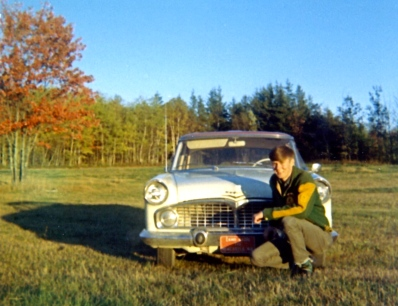 Author and his first car, a 196 Simca. The car had been shipped to Canada by a Canadian soldier stationed at a base in Southern Germany.