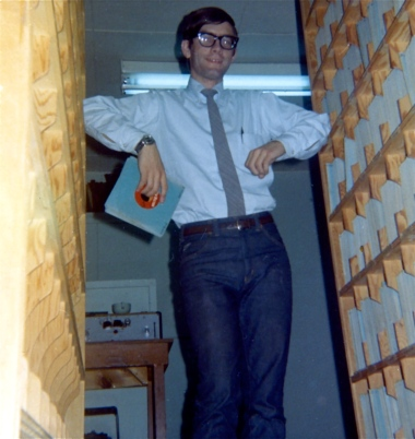 Paul McLaughlin in the Record Library at CKMR Radio - 1968