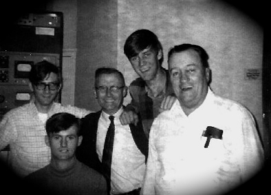 Part of the CKMR Crew - 1968 - Left to Right: Paul McLaughlin, Jerry Miller [DJ, Bathurst, NB] Dan Leeman [Newsreader and Copywriter]; Author; Blair Trevors [Engineer, Record Librarian]