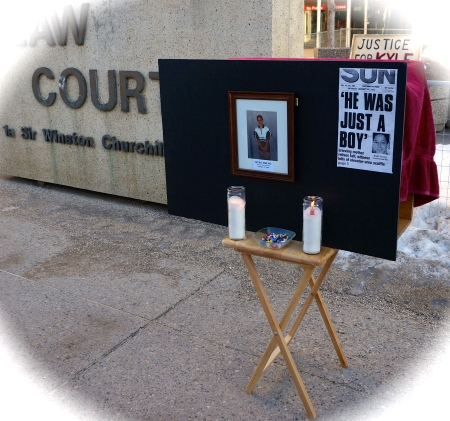 The makeshift memorial for Kyle Young outside the Law Courts Building in Edmonton. Photo taken by Author on 22 January 2014 on the 10th anniversary of the teen's death.