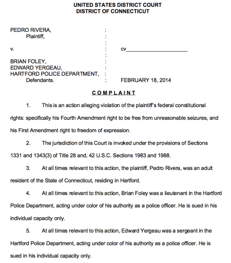 Page 1 of the lawsuit filed by lawyer Norm Pattis of Bethany, Connecticut.
