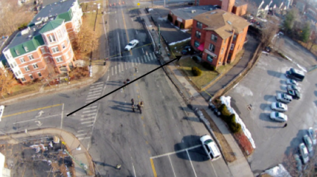 Aerial footage Pedro Rivera shot on Main Street in Hartford on 1 February 2014. The crash vehicle is on the right, parked on the lawn in front of a 3-story brick building.