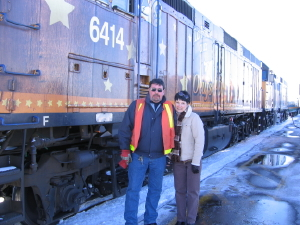 Train engineer Barry Lutes and his wife Marion of Riverview, New Brunswick. Barry is often in touch with Don.
