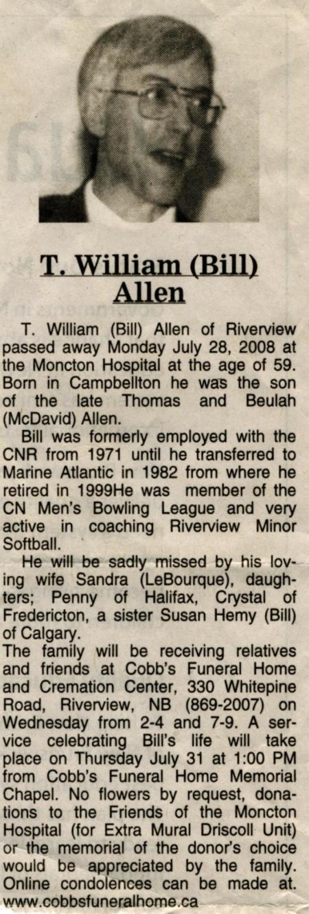 Bill Allen's Funeral Notice