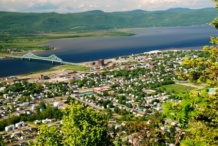 Campbellton, New Brunswick. The Restigouche River flows into the Bay of Chaleur. On the other side of these bodies of water is the Province of Quebec.