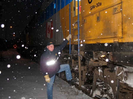 Train engineer Dave Lefurgey stayed in Campbellton