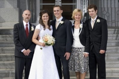 Ed Black followed in Don Hume's footsteps, coaching minor soccer in Edmonton, Alberta. Ed [far right] is pictured with his daughter and family at his daughter's wedding.