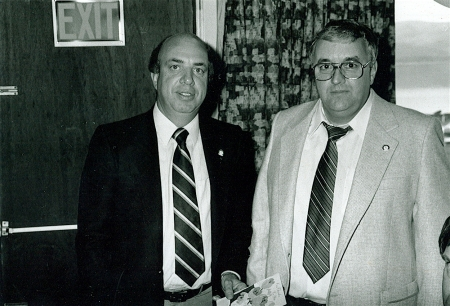 Sports legend Peter Maher and Don Hume at the 1986 Reunion. Maher, the voice of the Calgary Flames, is the only Campbelltonian to be inducted in the Hockey Hall of Fame. Maher, a good friend of Hume, was an avid supporter of the Speed Demons.