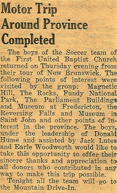 Local news coverage from the 1960s of the boys' trip around New Brunswick.
