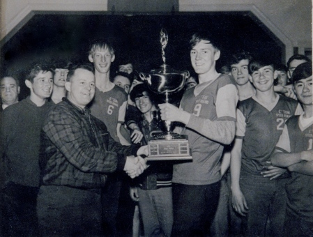 The Speed Demons capture the Eddie Black Memorial Trophy in Dalhousie, N.B. [mid 1960s]