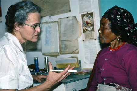 This was the image Today used ... Doctor Huston talking to a patient in her office. Her patient was from another village. Her problem? An insect had embedded itself in her ear. Huston applied a liquid solution and pulled out the dead insect with special tweezers. The bug was a fair size.