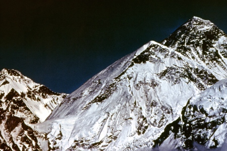 Mount Everest is the tall peak on the right.