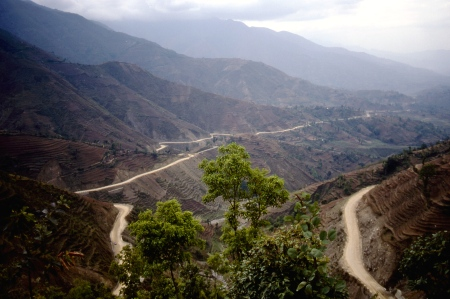 No guard rails: leaving Kathmandu and traveling west towards the Town of Dumre.