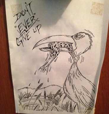 Cartoon on Helen Huston's apartment door in Edmonton.