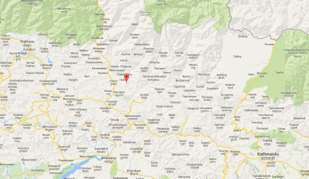 Map showing epicentre of the earthquake. Amp Pipal is about 30 kilometers southeast of that.