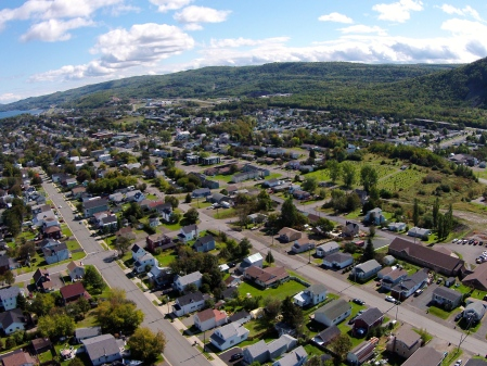 #9 - Another shot looking East, towards the Bay of Chaleur. My Phantom spotter, John Van Horne, lay on his back in the graveyard, telling me if the machine was behaving or not. I'm super-cautious about flyaways ... and the wind was wicked.