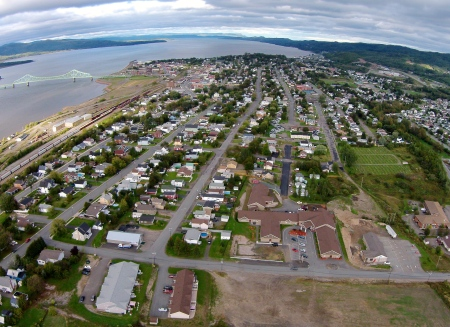 From the graveyard, local computer whiz, John Van Horne, and I shot this shot of Campbellton. We're now looking East, towards the Bay of Chaleur.