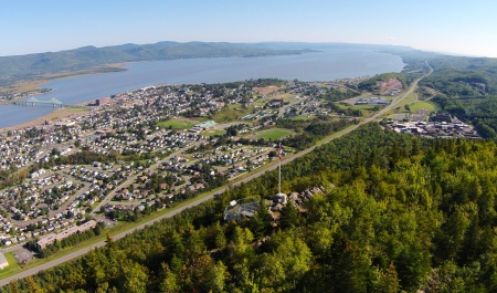 #1 - Campbellton from the Sugarloaf Mountain. Notice the lookout and the new flagpole, erected by the Royal Canadian Mounted Police.