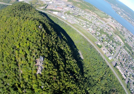 #2 - From 300 feet over the Sugarloaf Mountain, the mountain looks more like a heavily-treed hill. The only rocky portion that is visible is the lookout area.