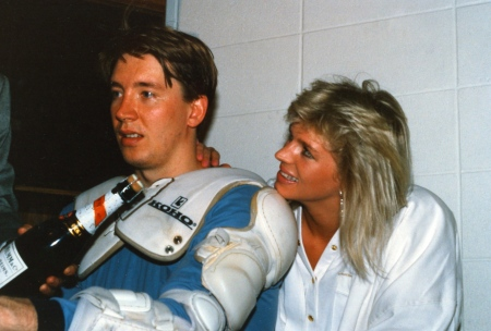 A weary Jari Kurri alongside his wife, Tiina. Tiina reported for the Helsinki Sanomat newspaper while the couple lived in Edmonton. Jari Kurri is the highest ranked non-Canadian for goals and points in the NHL. He became the first Finn to be inducted into the Hockey Hall of Fame.