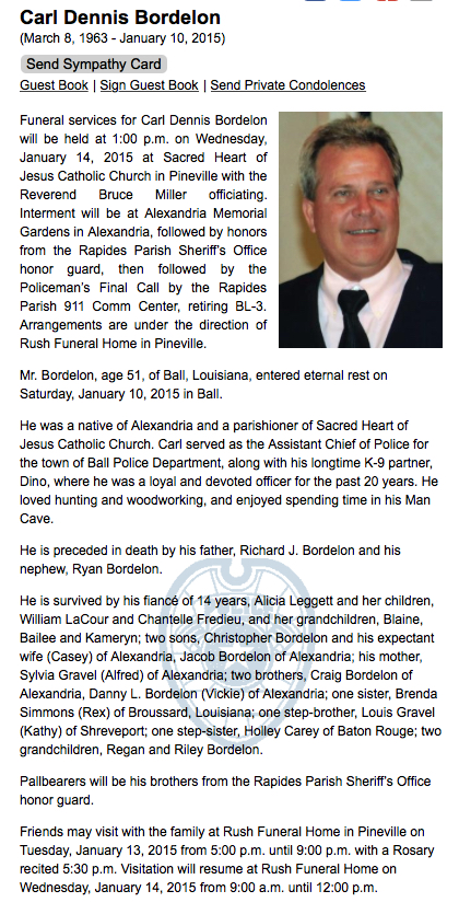 Obituary for Carl Dennis Bordelon