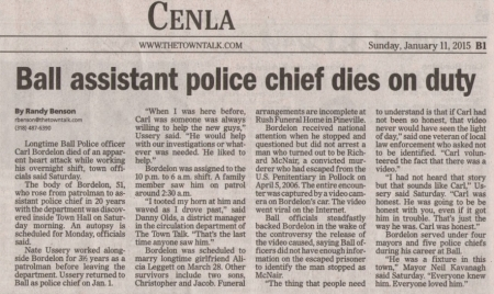 Alexandria's newspaper, the Town Talk, did this of the death of Carl Bordelon. Published on Sunday, 11th of January 2015. Click to enlarge.