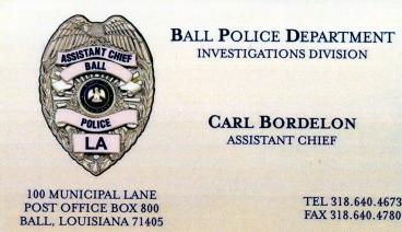 Carl Bordelon's business card.