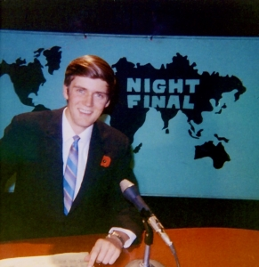 Author at CJDC-TV, Dawson Creek, British Columbia [fall of 1969]. And no, I did not design that set.