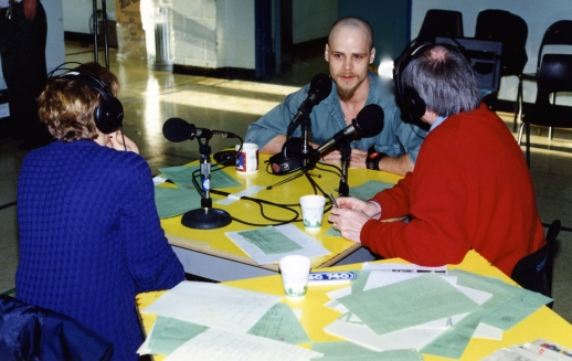 Inmate Dean Cooper being interviewed by Kathy and John, Edmonton Am show hosts. Cooper had stabbed a Calgary shop-owner to death. He gave a thoughtful interview. Cooper once told me that he had terrific parents, who stood by him even after the murder. He says he went stupid one night, did drugs, robbed and killed an innocent man.
