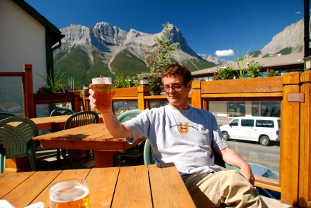 July 2010 - Enjoying a cold brew with David Milgaard in Canmore, Alberta.