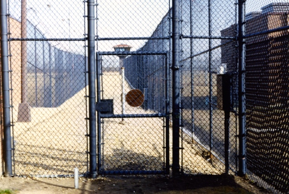 The double fence at the Edmonton Institution. 1990s photo by Author.