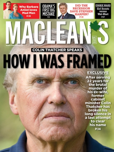 The - edition of Macleans Magazine which featured the Thatcher story on the front cover.