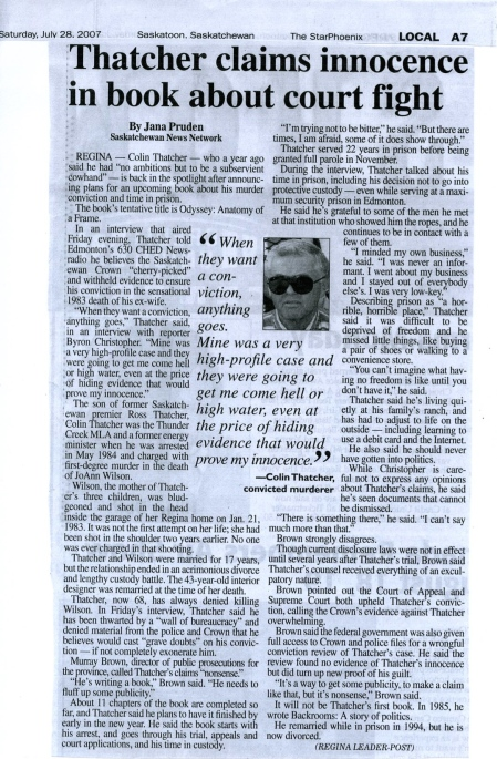A story by the Regina [Saskatchewan] Leader Post based on the interview on CHED Radio. July 2007.